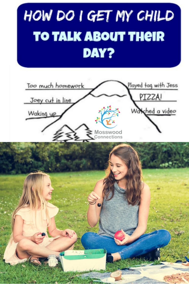 10 Proven Ways to Get Your Kids to Talk About Their Day Including Free Printables. Here are some of our tried and tested tips to get kids to open up and talk. #mosswoodconnections #parenting #autism