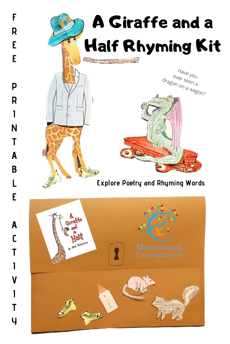 A Giraffe and a Half Rhyming Kit #mosswoodconnections #picturebooks #ShelSilverstein #Giraffe #literacy