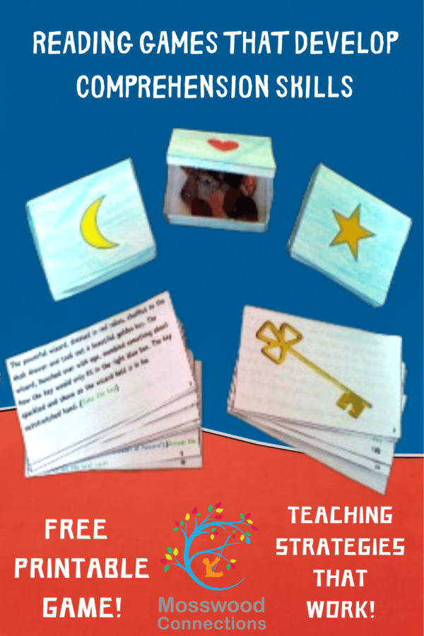 Teaching Strategies and a Free Downloadable Reading Game that Develop Reading Comprehension Skills #mosswoodconnections #reading #readingcomprehension  #readingcomprehension #education #homeschooling