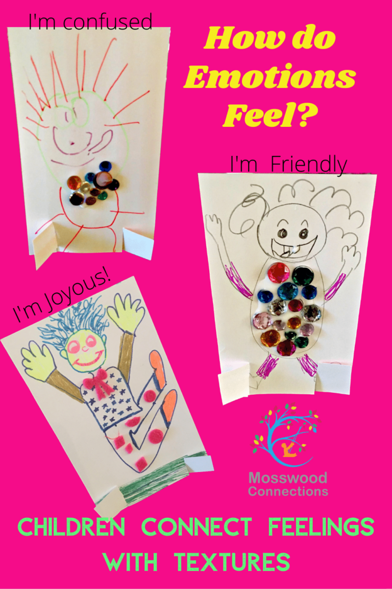 Children Explore Feelings with Texture People and a Sensory Art Project #mosswoodconnections #autism #socialskills #feelings #craftsforkids