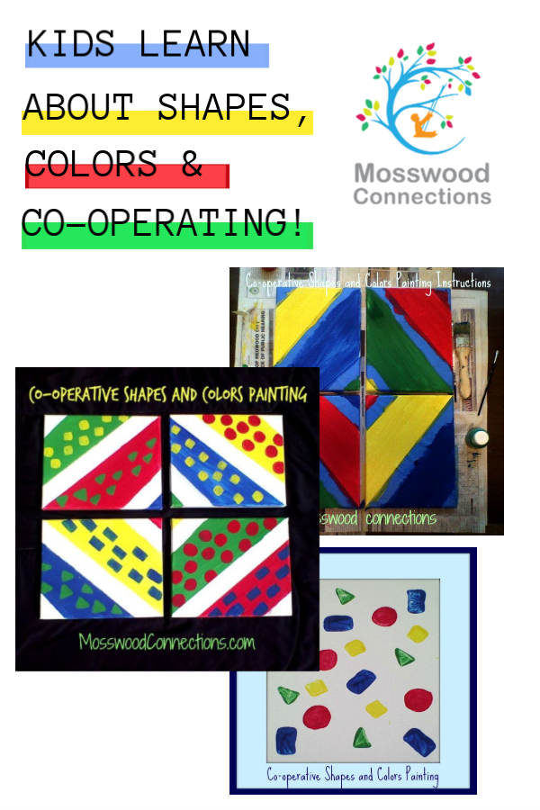 Co-operative Shapes and Colors Painting #mosswoodconneections #groupartprojects #artprojects