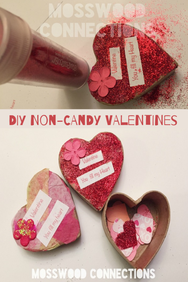 Confetti Heart Boxes Non-Candy Valentines #mosswoodconnections #craftsforkids #Valentines #noncandyvalentine