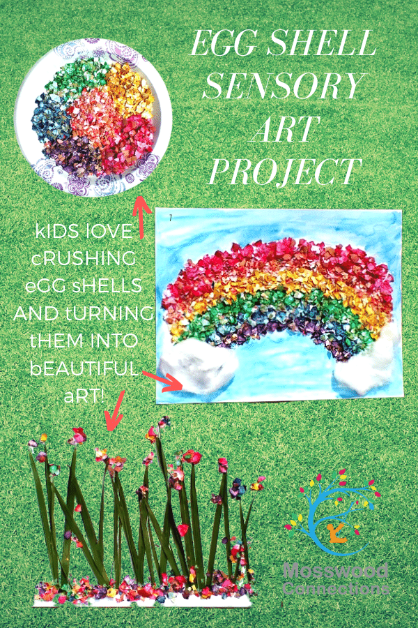 Egg-Shell Sensory Art Project #mosswoodconnections #sensory #artprojectforkids #spring