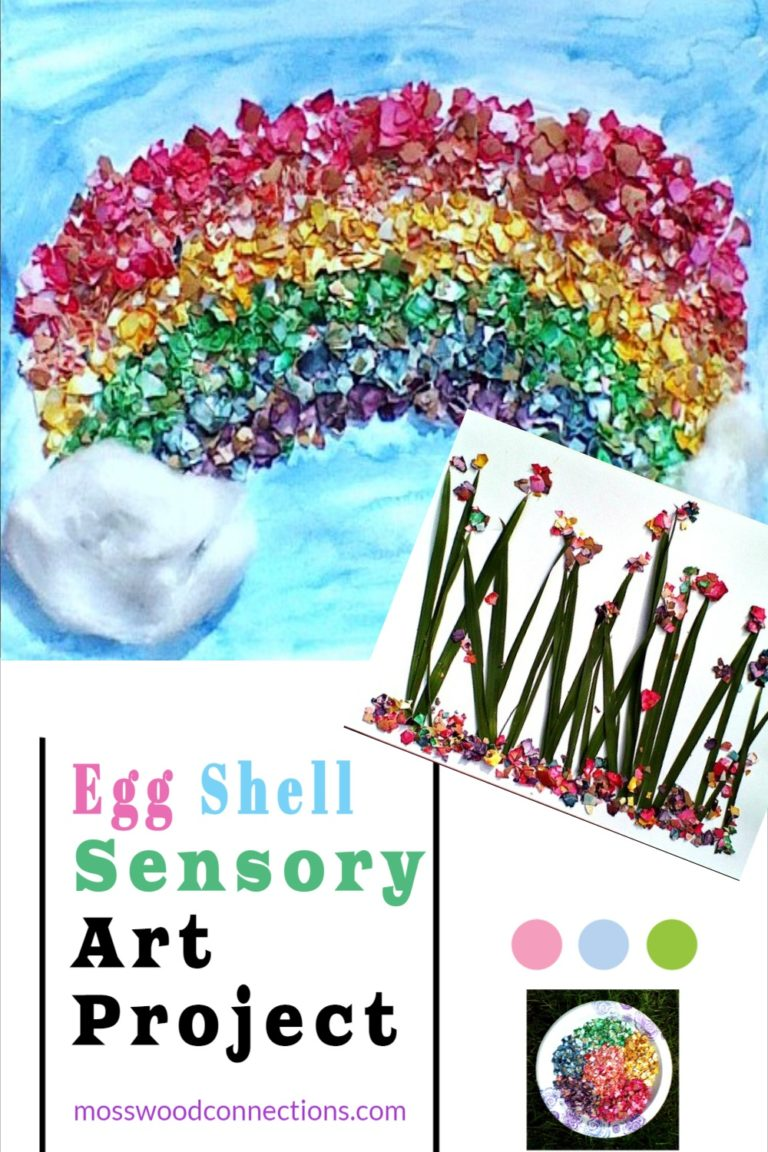 Egg Shell Sensory Art Projects #mosswoodconnections #artprojects #sensory #recycled