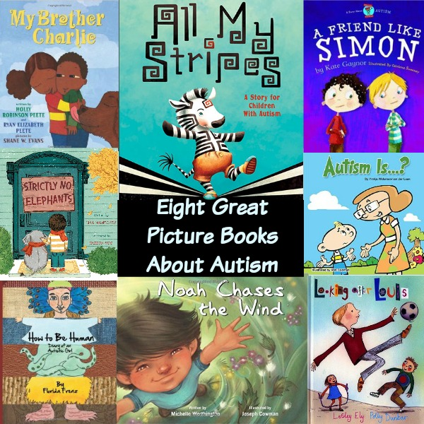 Eight Great Picture Books About Autism. Reading books with the kids teaches them about diversity, inclusion, self-empowerment and compassion. #mosswoodconnections #picturebooks #autism #diversity #inclusion
