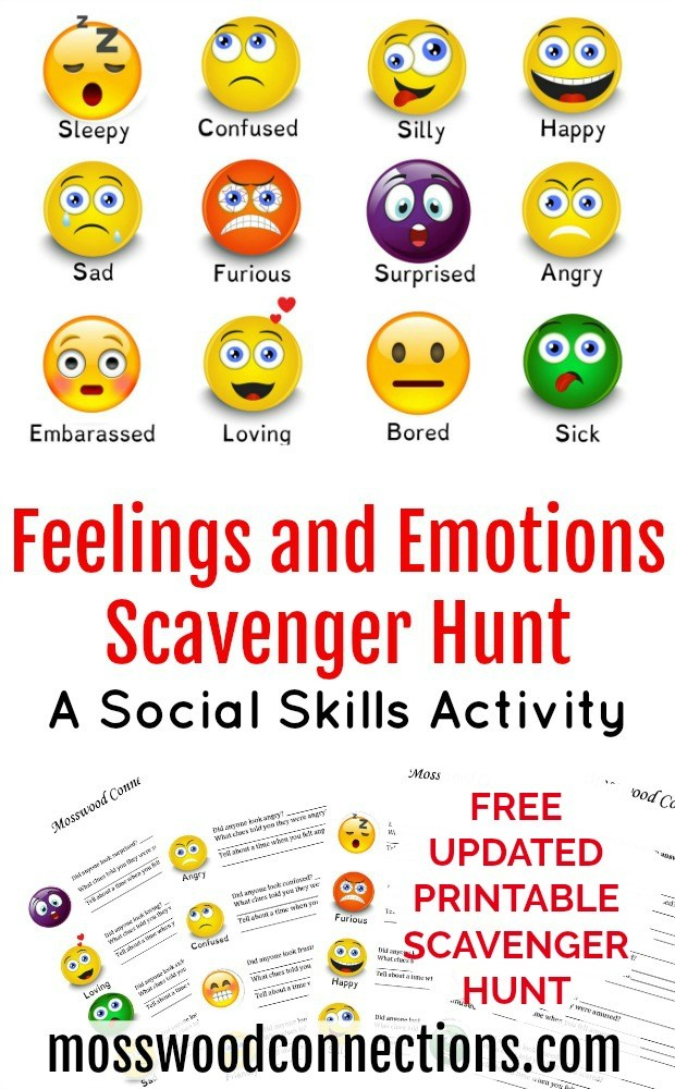 picture relating to Printable Social Skills Activities identify Feelings Scavenger Hunt - Mosswood