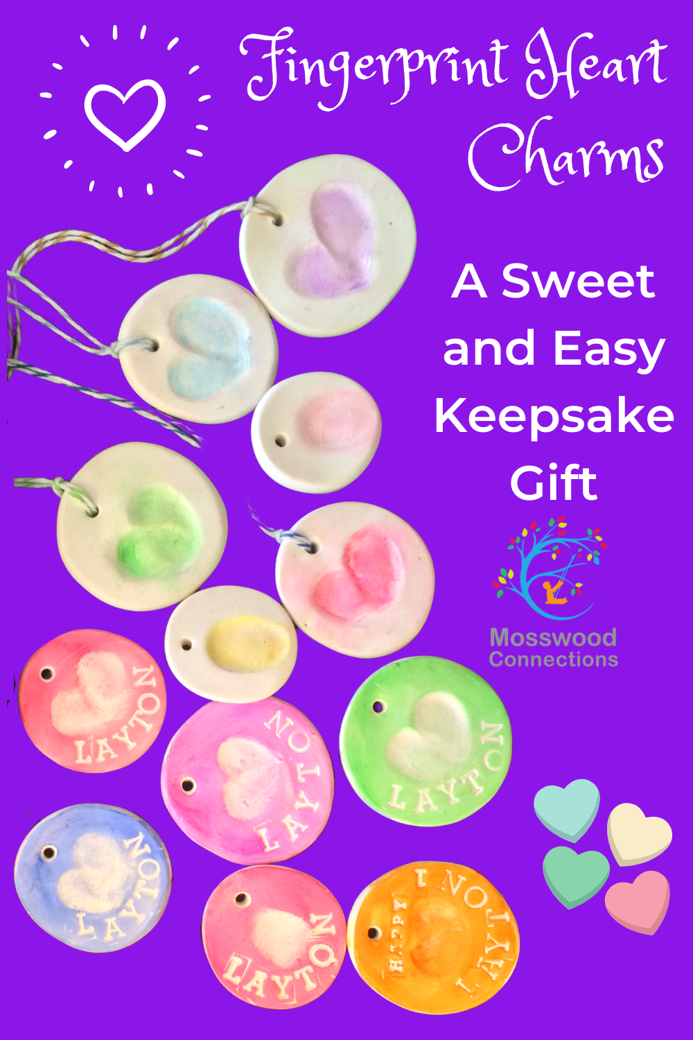 Fingerprint Charms Jewelry a Sweet Keepsake and Homemade Gift #mosswoodconnections #crafts #fingerprintart #homemade #kidmadegifts #Valentine'sDay #holidays