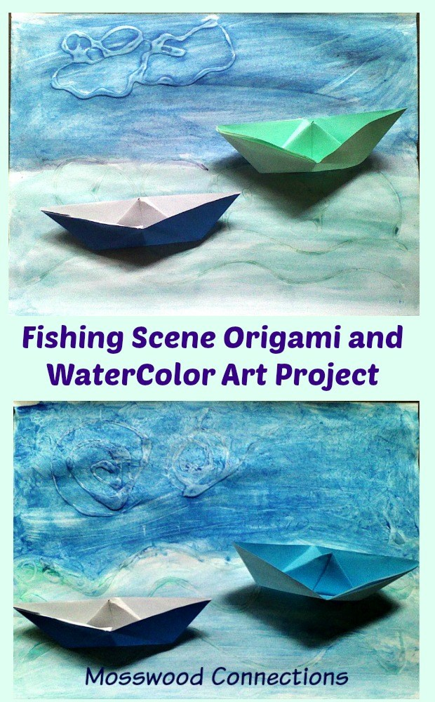 Fishing-Scene-Art-Project-Origami-and-WaterColor-Art #mosswoodconnections #bookinspired #origami #watercolors