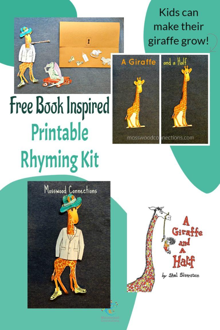 A Giraffe and a Half Rhyming Kit #mosswoodconnections #picturebooks #ShelSilverstein #Giraffe #literacy