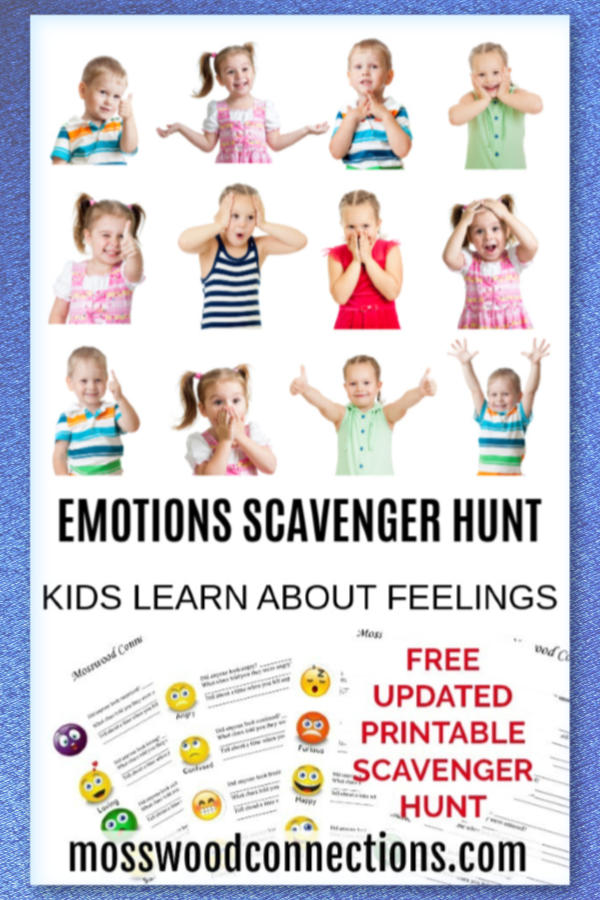 Feelings and Emotions Scavenger Hunt: A Social Skills Activity #mosswoodconnections #autism #socialskills #feelings #scavengerhunt #printablegame