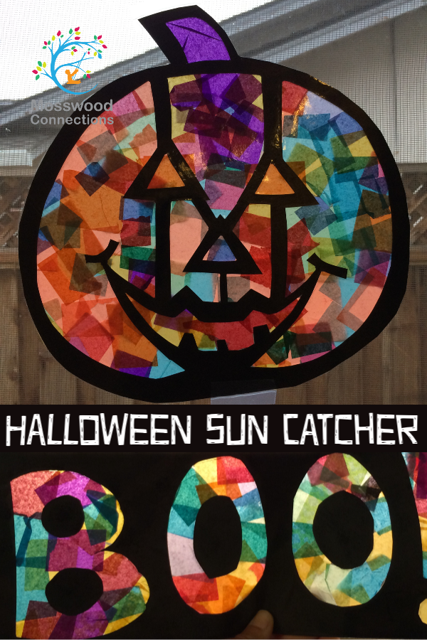 Stained Glass Halloween Sun Catcher #mosswoodconnections #crafts #artprojects #Halloween