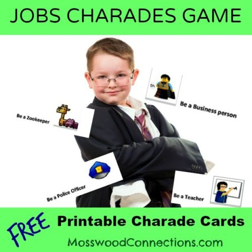 What Job Do You Want Charades Printable Game #mosswoodconnections #charades #confidentkids #pretend #bookextensionactivity