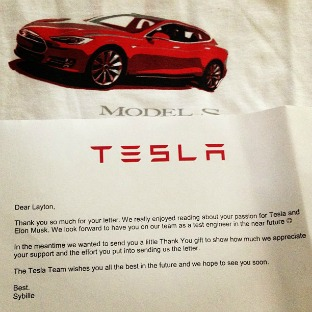 Letter from Tesla #mosswoodconnections