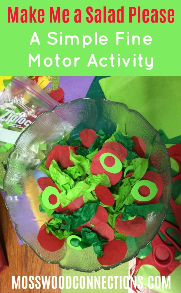 Make Me a Salad Please; A Simple Fine Motor Activity #mosswoodconnections #simplecrafts #finemotor
