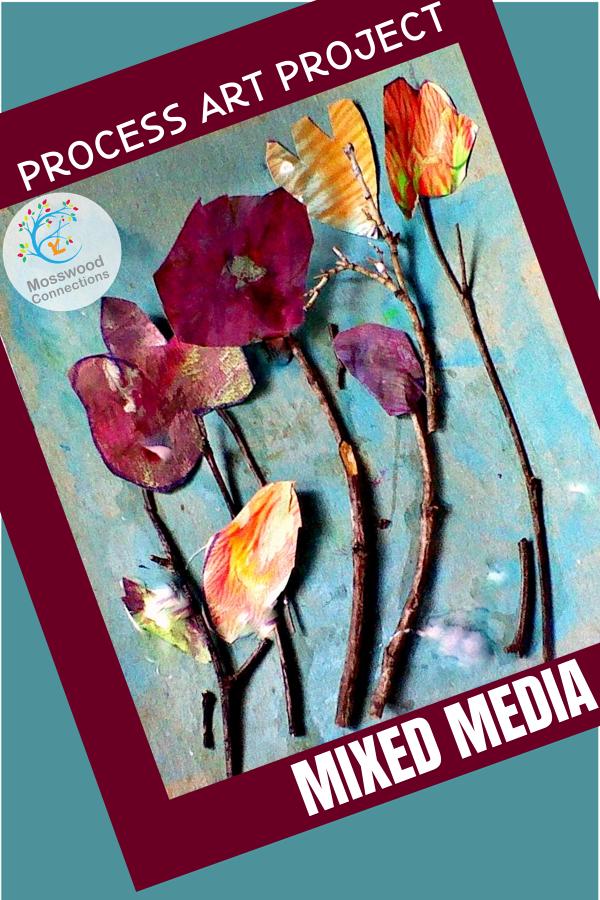 Mixed Media Process Art Project #mosswoodconnections #processart #natureart #mixedmedia