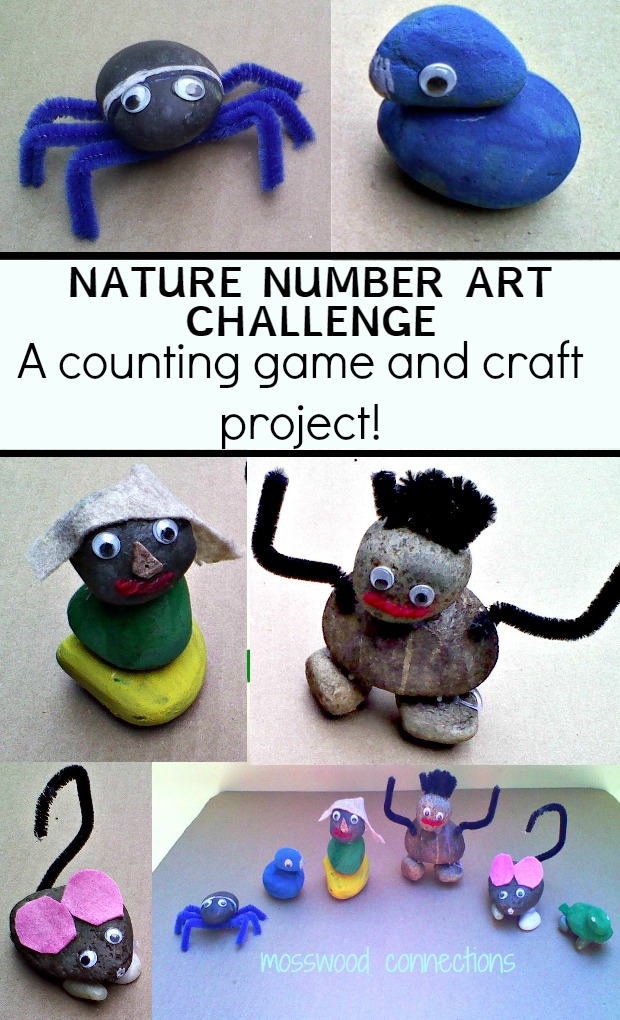 Nature Number Art Challenge A Counting Game and Craft Project with Rocks #mosswoodconnections #natureart #learningthroughplay