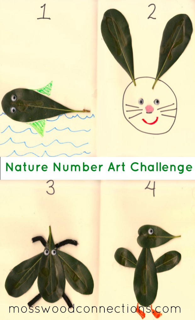 Nature Number Art Challenge Using Leaves #mosswoodconnections #natureart #crafts