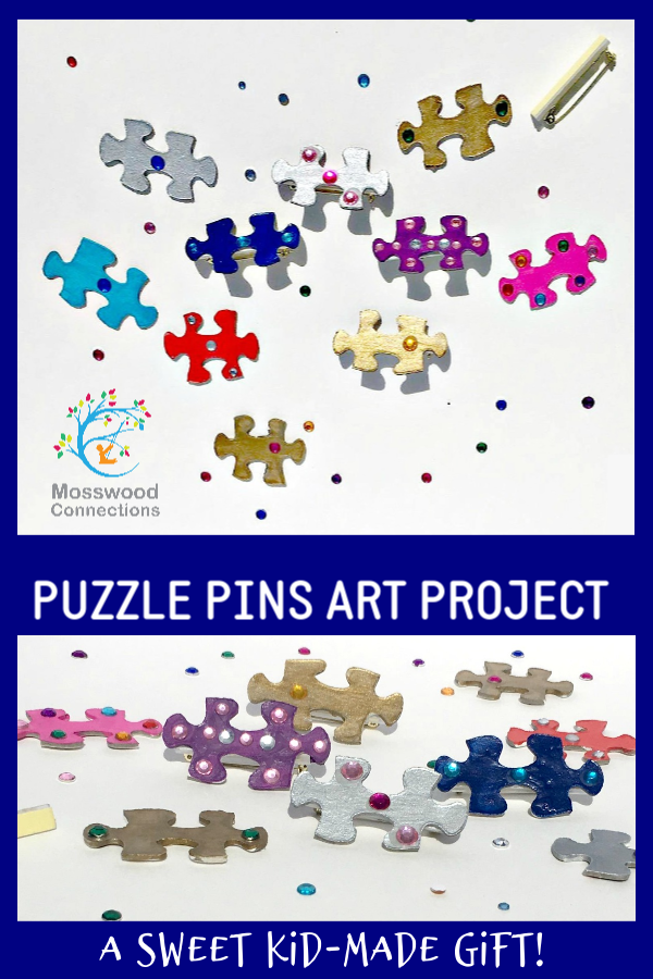 Puzzle Pin Art Project DIY gift made with recycled items. #mosswoodconnections #homemadegifts #craftsforkids #recycledtreasures