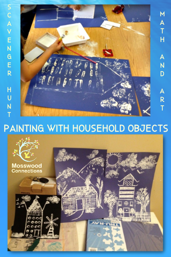Paperclip Painting Math Art Activity; Painting with Found Objects #artproject #paintingwithkids #mosswoodconnections