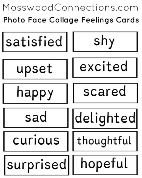 Photo Face Collage: A Social Skills Activity for Recognizing Feelings #mosswoodconnections #autism #recognizingfeelings #faces
