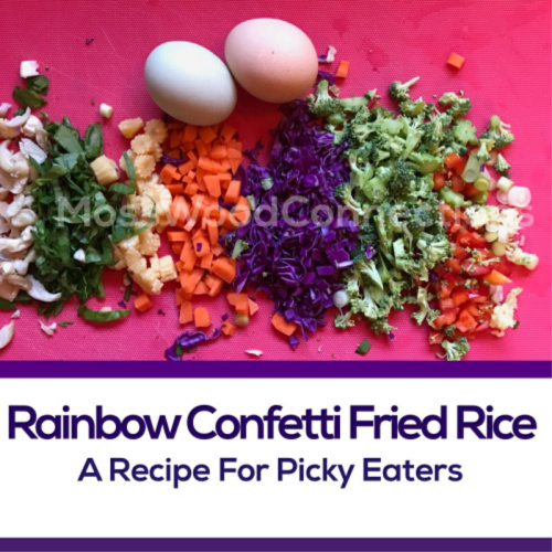 Rainbow Confetti Fried Rice Recipe for Picky Eaters #mosswoodconnections