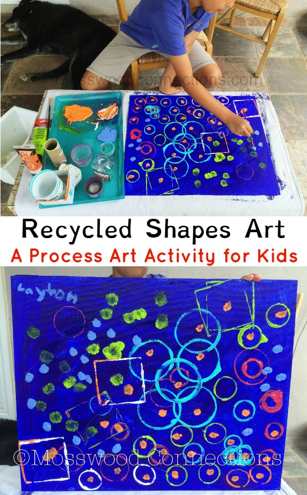 Recycled Shapes Art; A Process Art Activity for Kids #mosswoodconnections #processart #artprojects