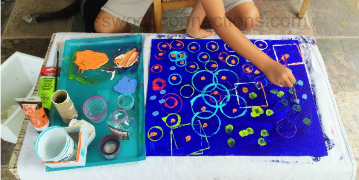 Recycled Shapes Process Art Project #mosswoodconnections #processart #sensory #preschool #artprojects