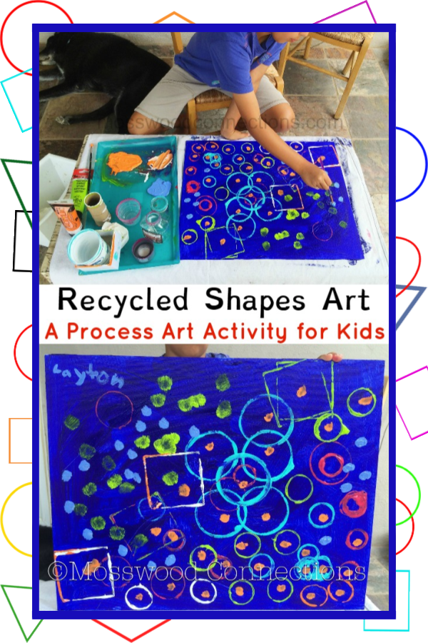 Here's how to Make Your Recycled Shapes Process Art Project!  #mosswoodconnections #recycledart #shapes #artproject #paintingwithkids #processart