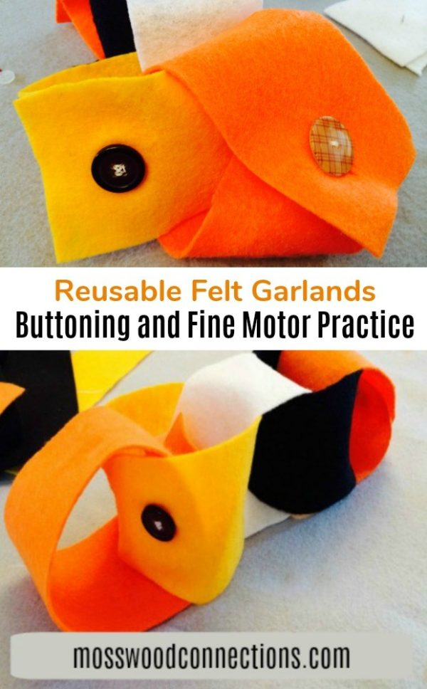 Felt Garlands for Buttoning and Fine Motor Practice #mosswoodconnections #pincergrip #buttoning #finemotor #sewingwithkids #holidays