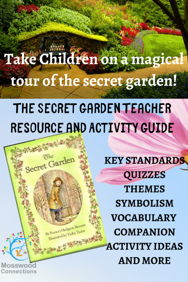 The Secret Garden Lesson Plan and Teacher Curriculum #mosswoodconnections #thesecretgarden #booklessons #middleschool #literacy #teachersresource #homeschooling #bookcurriculumLesson plans and teaching ideas for The Secret Garden #Intermediatereaders #mosswoodconnections #booklessons #homeschooling #literacy #reluctantreaders