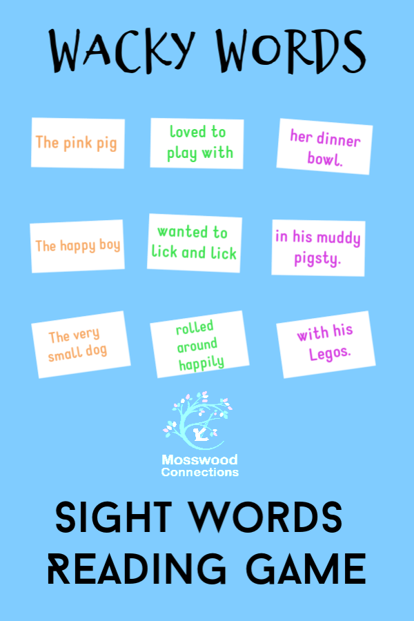 Wacky Words Sight Words Reading Game: your kids will love to learn to read with this activity. #mosswoodconnections #education #sightwords #homeschooling #reading