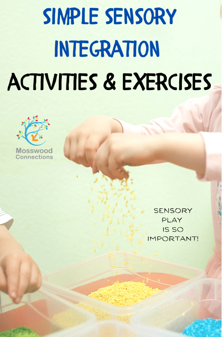 Sensory Integration Strategies and Tips - simple sensory integration activities and exercises  #sensoryplay #mosswoodconnections #sensory #autism #SPD