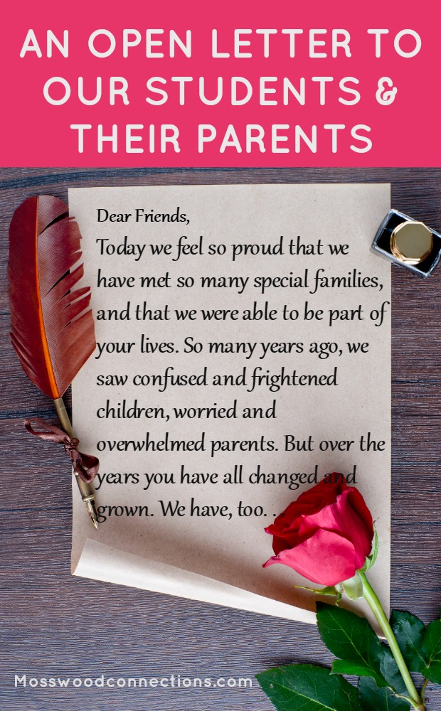 A letter to our students and their parents… #feelinggrateful #parenting #specialneeds #mosswoodconnections