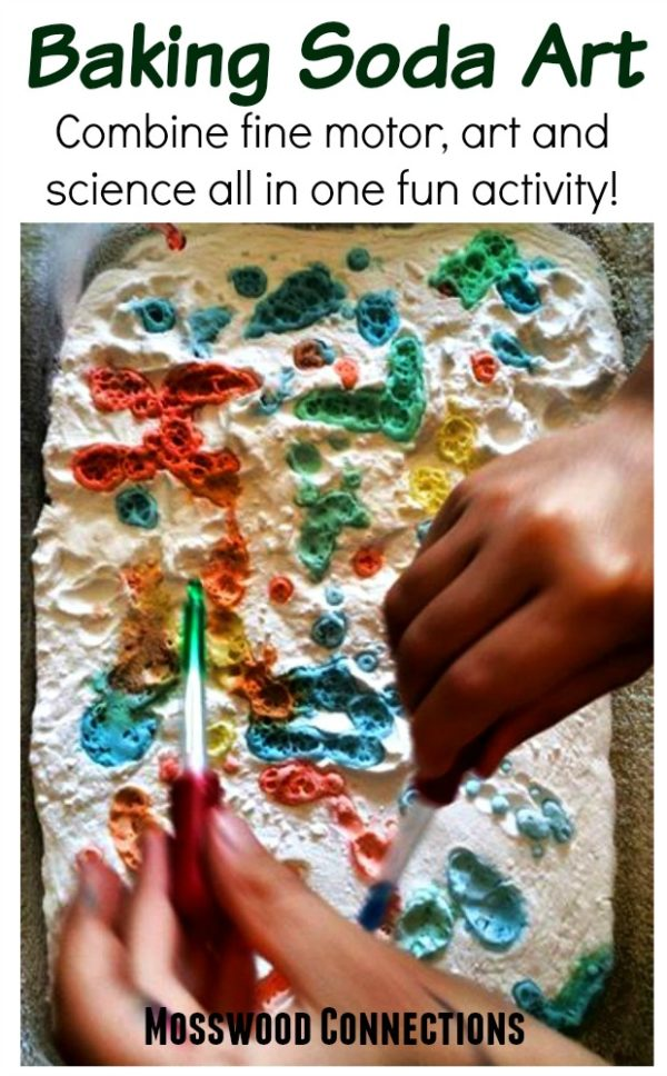 Baking Soda Art: Combine fine motor, art and science! #mosswoodconnections #craftsforkids #finemotor #preschool #science