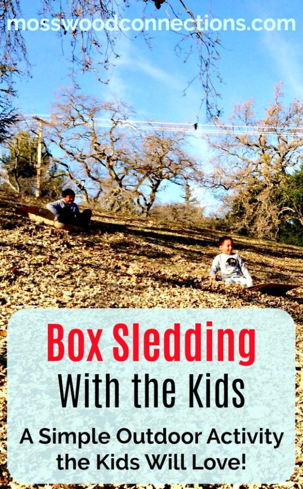 Yesterday the Magic Arrived in Large Cardboard Boxes: Going Box Sledding With the Kids! #outdoorfun #parenting #grossmotor #mosswoodconnections