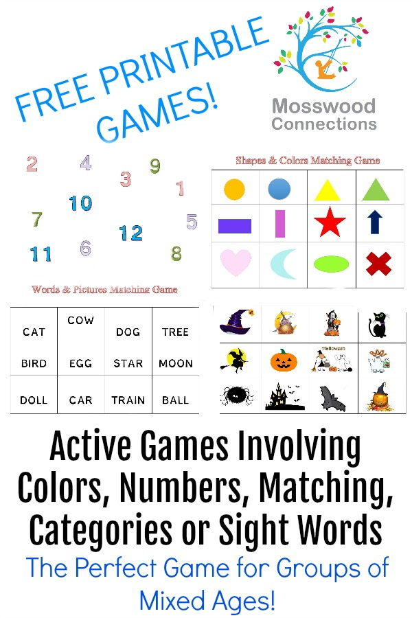 4 DIY Busy Box Matching Games packed full of skills! Matching, numbers, counting, sight words, gross motor, categories and more! #mosswoodconnections #education #matchinggames #sensory #preschool