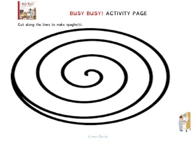 Busy Busy Spaghetti Activity Page #mosswoodconnections #picturebooks #toddlers #activitiesfortoddlers #freeprintables #coloringpage #bookunit