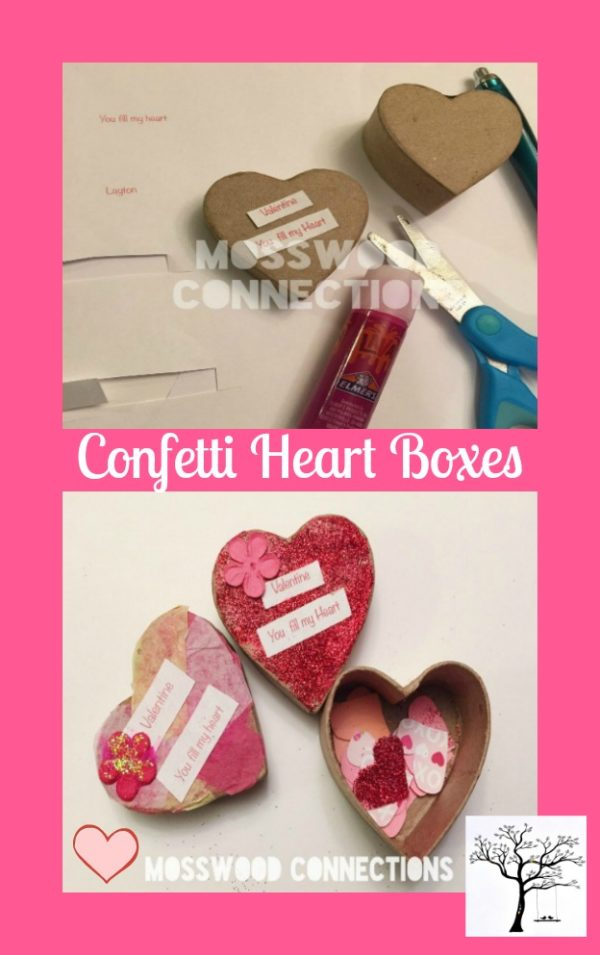 Confetti Heart Boxes Non-Candy Valentines #mosswoodconnections #craftsforkids #Valentine's #non-candyvalentine