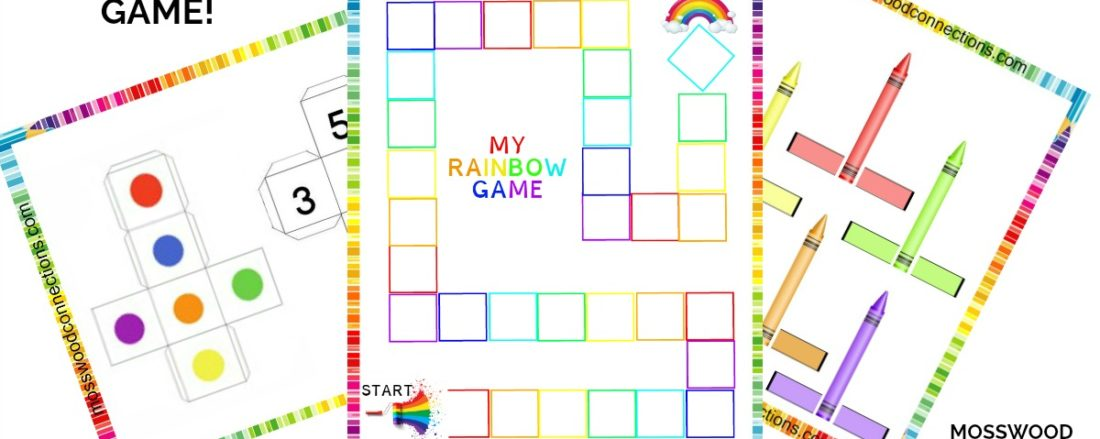 DIY Colors and Numbers Cooperative Rainbow Game Includes Free Printable Game #mosswoodconnections #shapesandcolors #finemotor #preschool #DIYboardgame