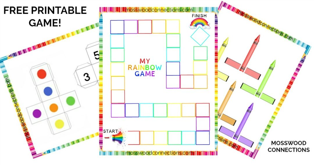 DIY Colors and Numbers Cooperative Rainbow Game Includes Free Printable Game #mosswoodconnections #visualprocessing #visionskills #sensory #playdough