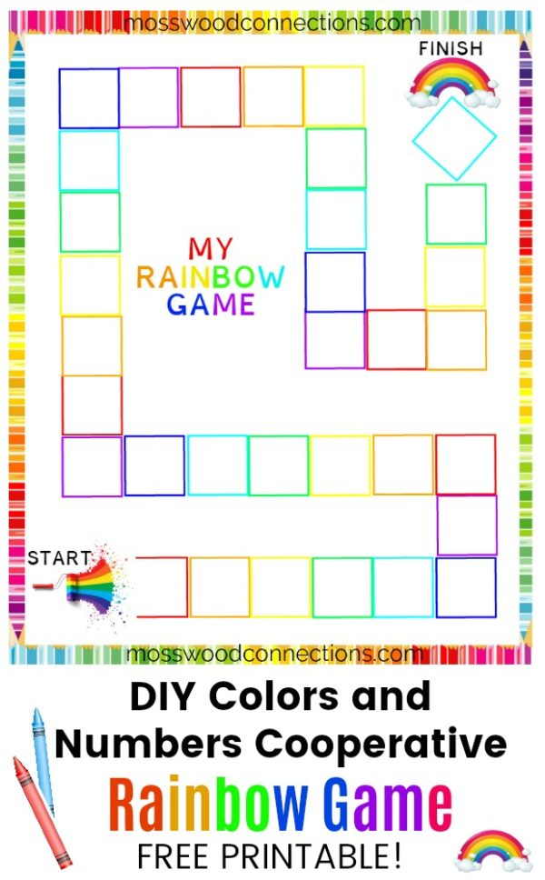 photo relating to Printable Colors identified as Rainbow Sport: Do it yourself Board Video game - Mosswood