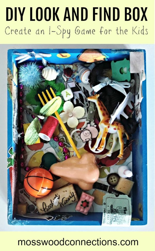 DIY LOOK AND FIND BOX; Create an I-Spy Game for the Kids #mosswoodconnections #visualprocessing #visionskills #DIYtoy #ISpyGame #recycledtreasure