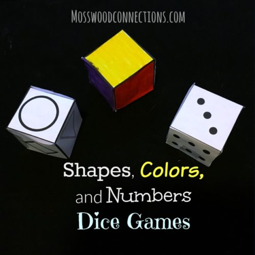 Shapes, Colors, and Numbers Dice Games - drawing games that kids can play by rolling the dice. #mosswoodconnections #shapes #colors #drawing #numbers #education #homeschool
