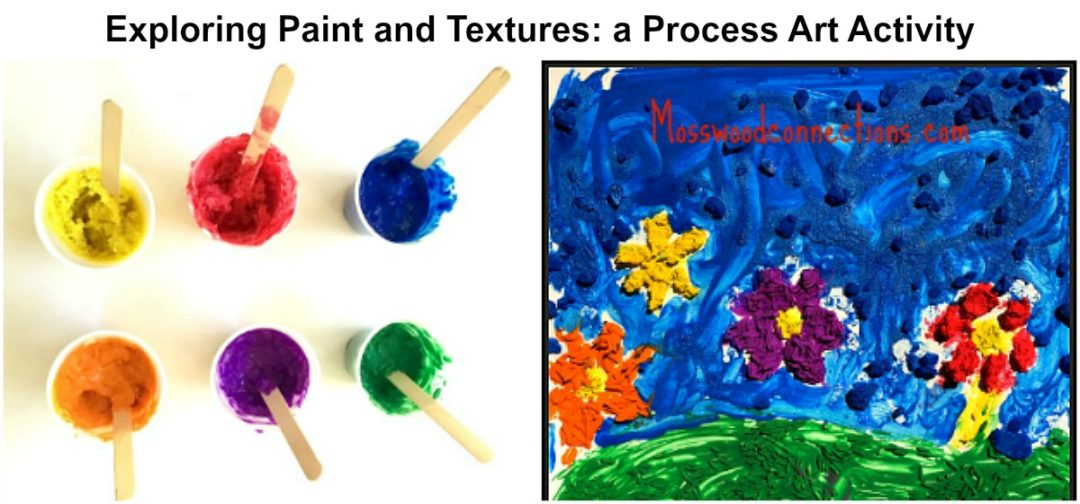 Exploring Paint and Textures: a Process Art Activity #mosswoodconnections #processart #sensory #preschool #artprojects