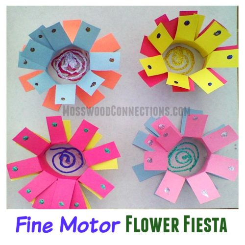 Fine Motor Flower Fiesta is packed full of skills: Hand strength, pincer grasp, visual-spatial skills, proprioception exercise, scissor & pre-writing skills #mosswoodconnections #finemotor #scissorskills #crafts