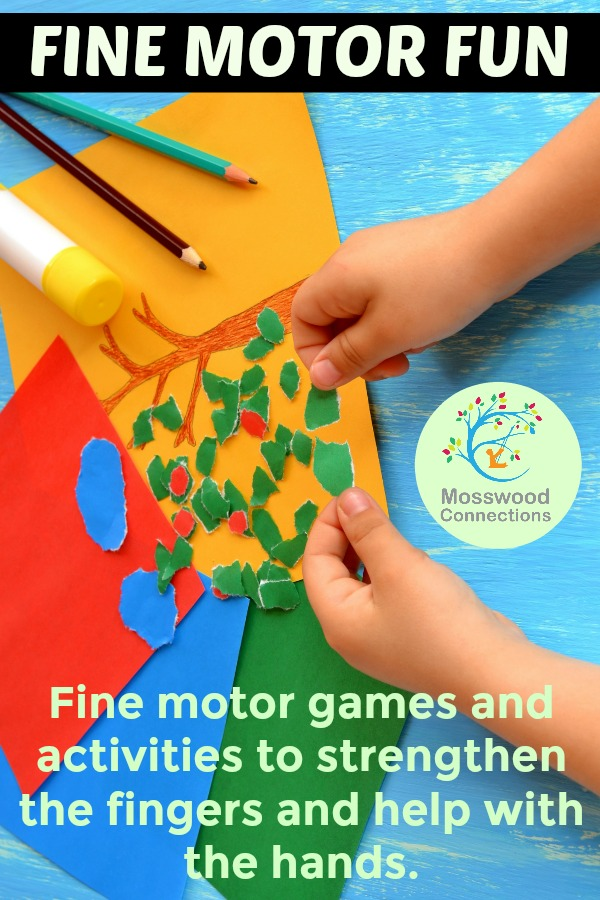 Help for the Hands - Fine Motor Fun Fine motor exercises and activities to strengthen the fingers and help with the hands. mosswoodconnections #handstrength #finemotor #preschool