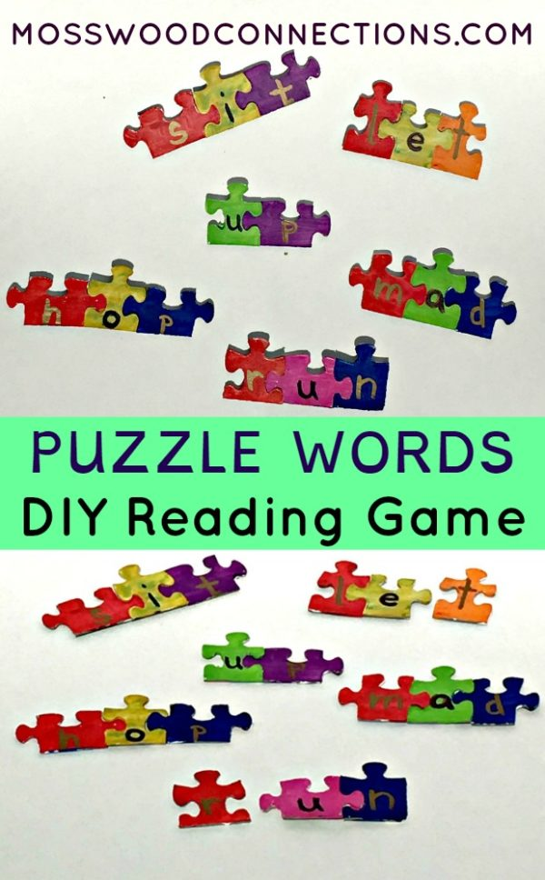 Sight word puzzles with painted puzzle pieces with letters written on them. Connect them to make words.
