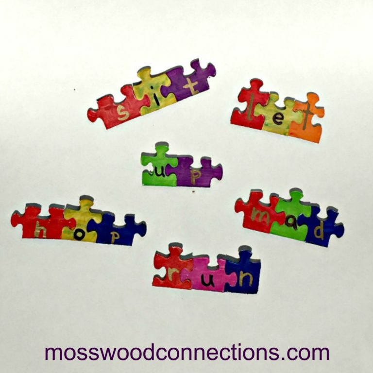 Puzzle Words: DIY Early Reading Skills Activity #mosswoodconnections #learningtoread #reading #educational