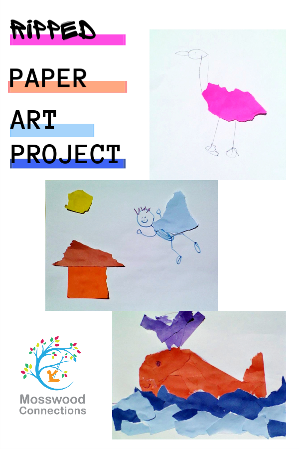 Ripped Paper Art Project Sensory Activities for Kids #mosswoodconnections #craftsforkids #finemotor #constructionpapercraft