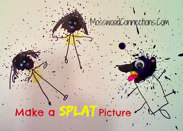 Make Your Own Splat Picture: Fine Motor Fun! #mosswoodconnections #artprojectsforkids #finemotor #preschool #breathsupport